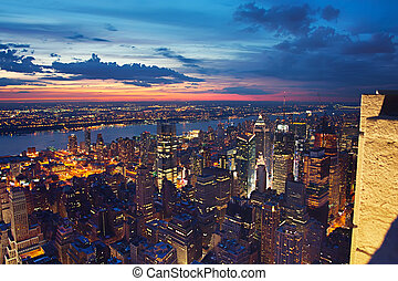 View on New York at night