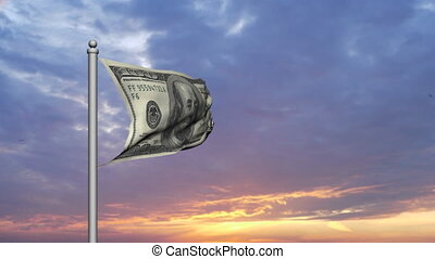 Dollar bill money flag at sunset - Dollar bill money flag...