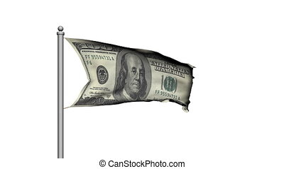 Dollar bill money flag on white
