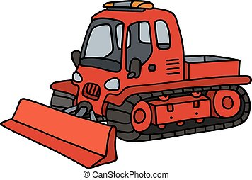 Funny red snowgroomer - Hand drawing of a funny red tracked...