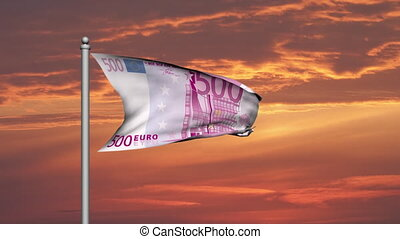 Euro banknote money flag at sunset