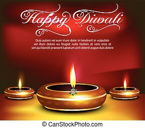 glossy happy diwali celebration background vector...
