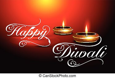 happy diwali text background with glossy deepak vector...