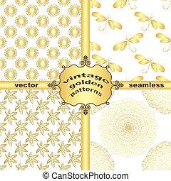 Set vintage golden patterns