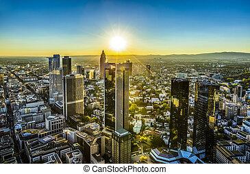 aerial of Frankfurt by night - aerial of Frankfurt am Main...