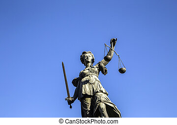 Justitia - Lady Justice sculpture on the Roemerberg square...