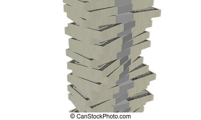 Dollar bill money tower on white - Dollar banknote money...