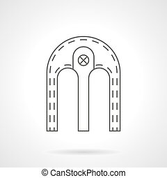 Double arch flat line vector icon - Double archway with...