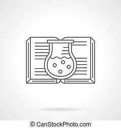Chemistry book flat line vector icon - Abstract symbol of...