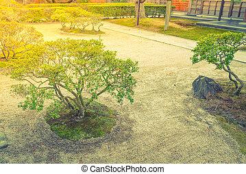 Japanese zen garden meditation stone ,Filtered image...