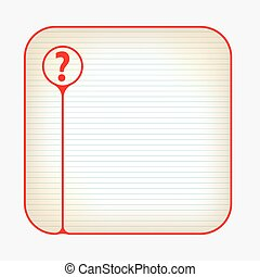 Red box with lined paper and question mark