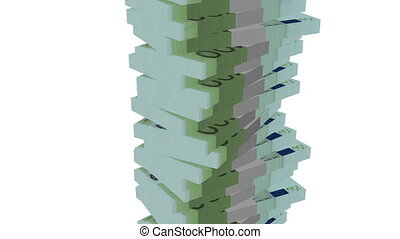 Euro banknote money tower on white background - Finance -...