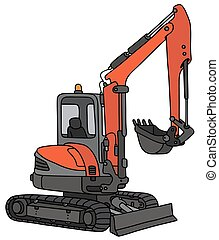 Red small excavator - Hand drawing of a red and gray small...
