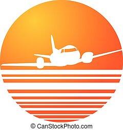plane landing sunset