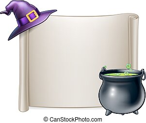 Halloween Scroll Sign Background - A cartoon Halloween...
