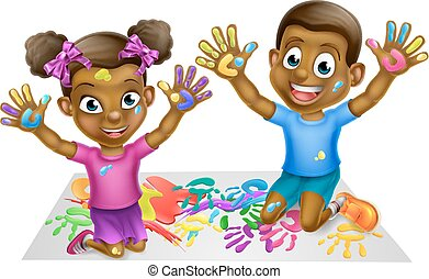 Black Kids PLaying With Paints