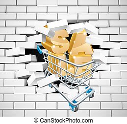 Sale Shopping Cart Smashing Wall - Sale sign concept of a...