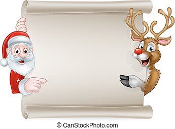 Cartoon Santa and Christmas Reindeer Scroll - Cartoon...