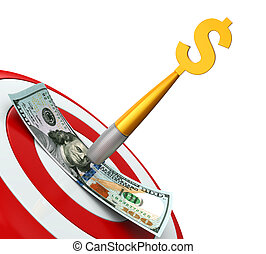 Money and Darts isolated on white background. 3D render