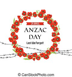 A wreath of poppies and barbed wire card