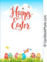 Easter holiday card with eggs on a grass. Festive spring...