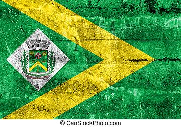 Flag of Santa Barbara d'Oeste, Sao Paulo, Brazil, painted on dirty wall