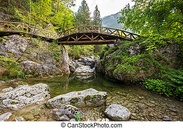 Mount Olympus National Park. Greece - Wooden bridge over a...
