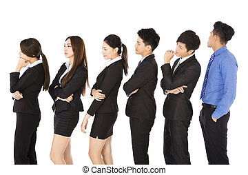 group of business people standing and waiting in row