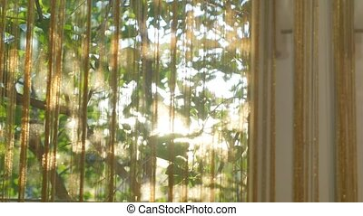 Sunlight from outside window streams into a room through...