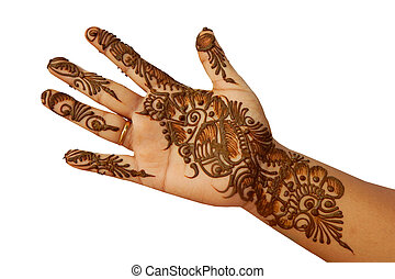 hand with Mehendi temporary tattoo - Closeup of a Hand with...