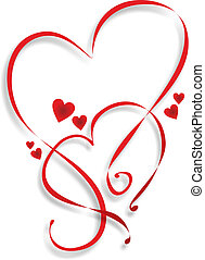 two entwined hearts as a template for decoration