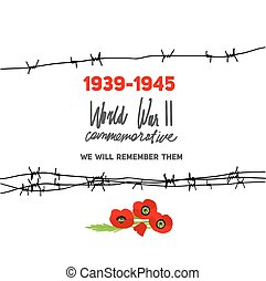 Memorable card with barbed wire - Memorable World War II...