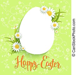 Positive Easter card with flowers