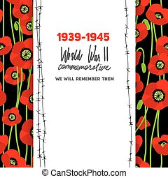 Memorable card with poppies background. Commemorative card...