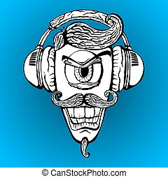 Cyclops with headphones listening to music