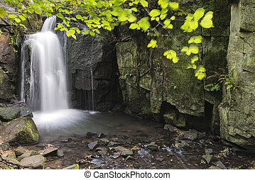 Beautiful waterfall in forest landscape long exposure flowing through trees and over rocks