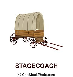 Cowboy wagon icon cartoon. Singe western icon from the wild...