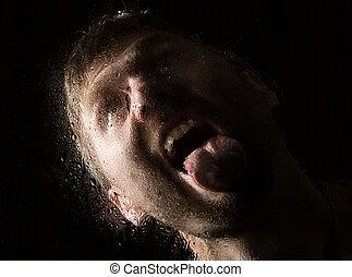ficar, água, chuvoso, gotas, rosto, mão, Dia, Janela,...