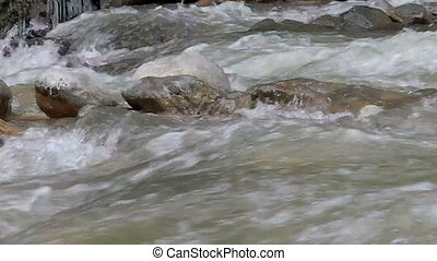 Mountain river in summer - Mountain river ragging torrent in...