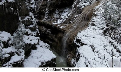 Mountain river in winter - Mountain river waterfall in...