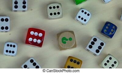 Various colorful dice. Gambling concept. turntable