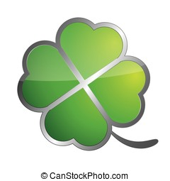 Four leaf clover symbol isolated on white