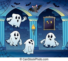 Ghosts in haunted castle illustration.