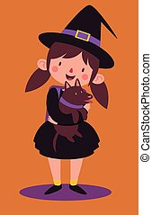 School Witch Holding her Dog - Vector illustration of a...