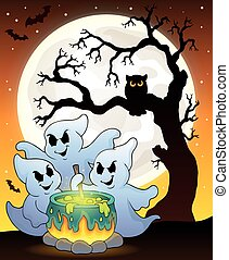 Ghosts stirring potion theme illustration.