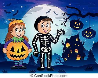 Halloween costumes theme illustration.
