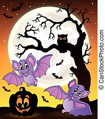 Halloween theme with bats