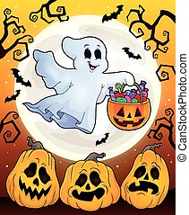 Halloween theme with floating ghost - eps10 vector...