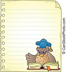 Notebook page with owl teacher 6 - eps10 vector illustration...