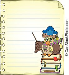 Notebook page with owl teacher